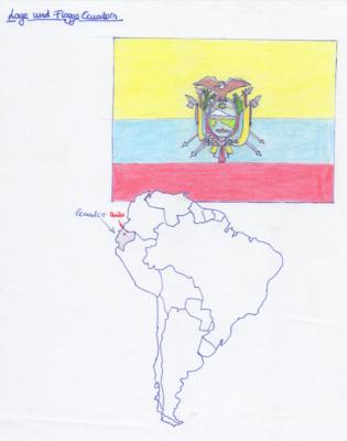 Lage und Flagge Ecuadors